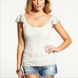 New Guess Sleeveless Ruffle All Over Lace Flutter